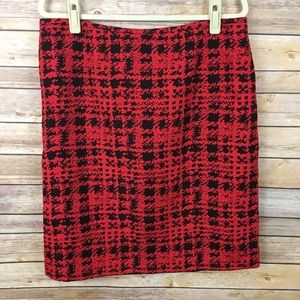 Tahari Arthur S. Levine Red & Black Print Skirt